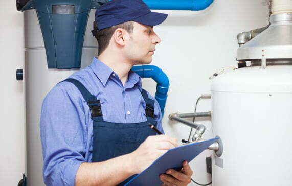 Stock image of man working on air quality
