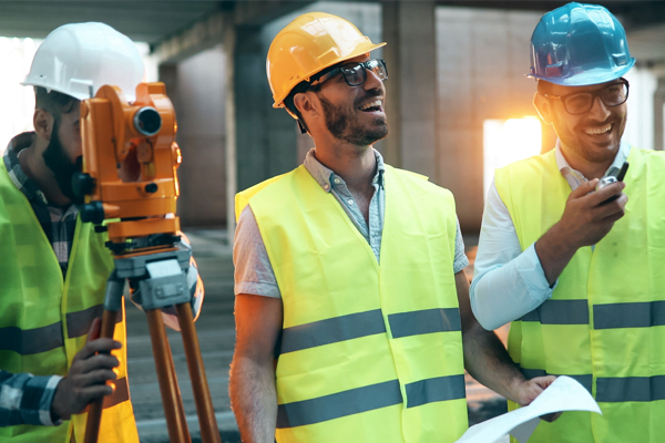 Stock image of happy construction workers