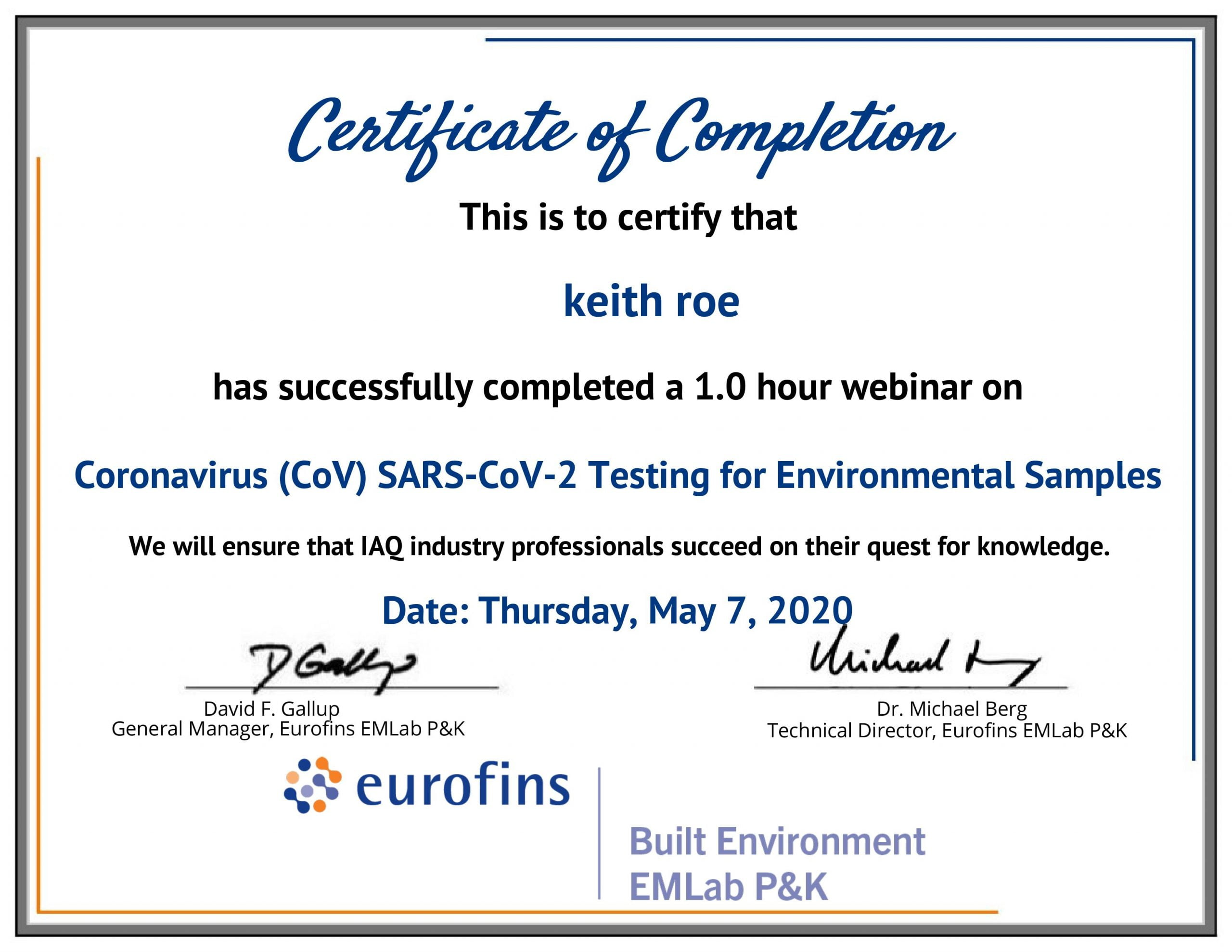 Keith Roe Certificate of completion on COVID-19 testing for environmental samples